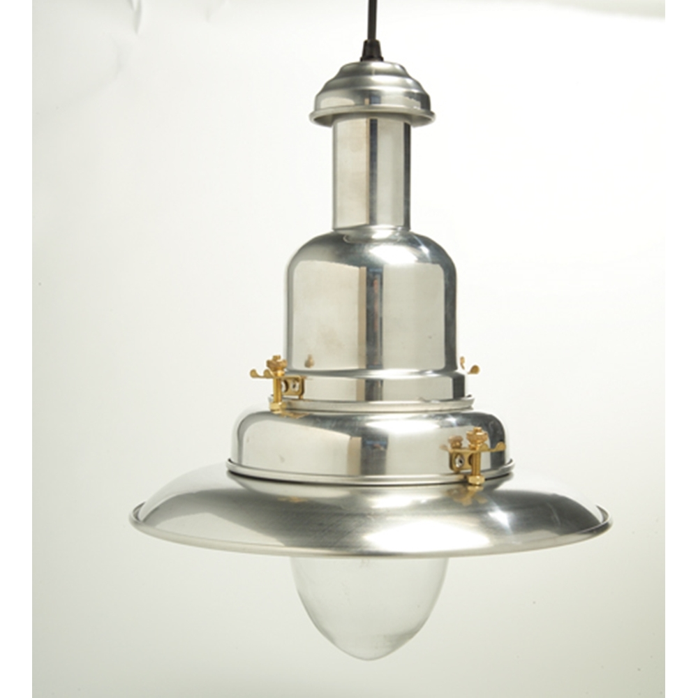 Large Silver Fisherman's Pendant Light or Polished Chrome ...